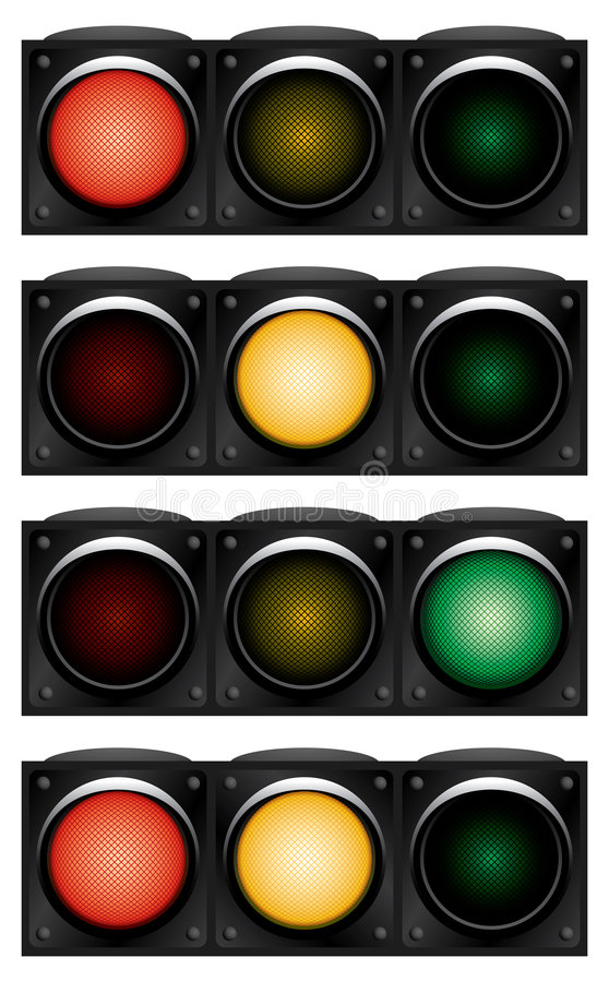 Download Horizontal traffic-light. stock vector. Image of green - 5318104