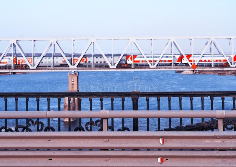 Horizontal train crossing the bridge transportation background hd royalty free stock images