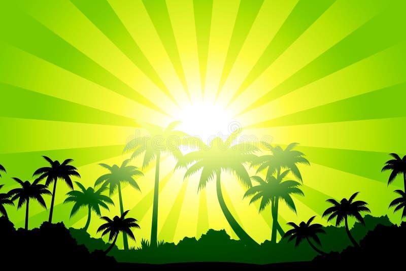 Horizontal tropical illustration de vecteur