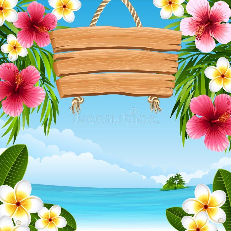 Horizontal tropical illustration stock