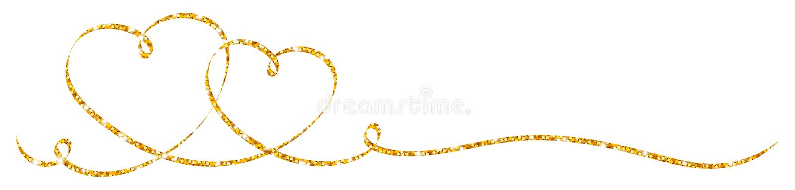 Horizontal Two Connected Golden Glitter Hearts Calligraphy Ribbon. With Two Swirls vector illustration