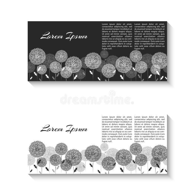 Horizontal two flyer mockup black and white minimal design element, feminine pattern of dandelion flowers for card spa salon. Elegant florist decor element for stock illustration