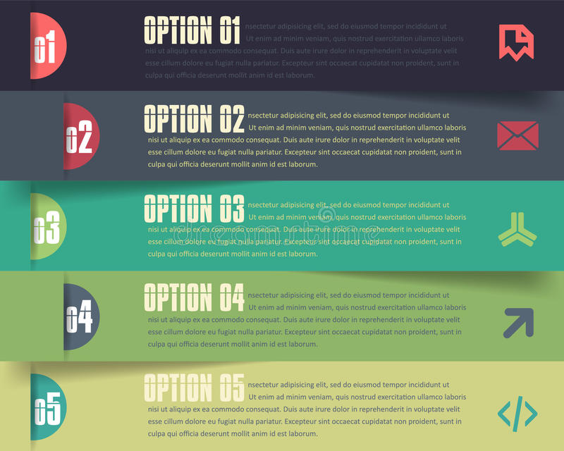 Horizontal Vector Background Number Options Banner stock illustration