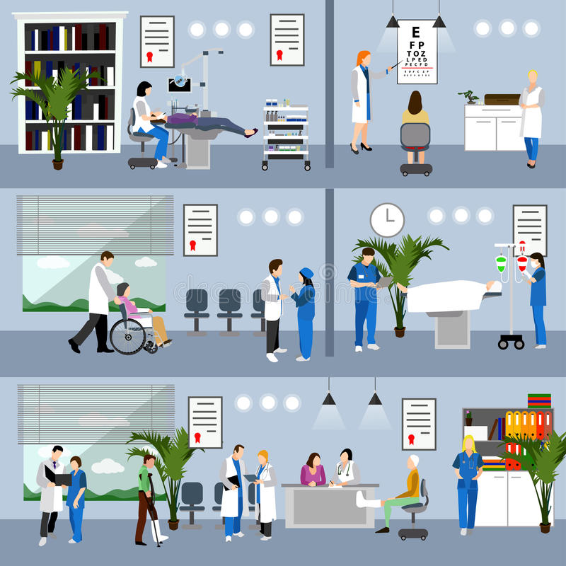 Horizontal vector banners with doctors and hospital interiors. Medicine concept. Patients passing medical check up stock illustration