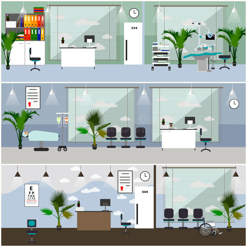 Horizontal vector banners with hospital interiors. Medicine concept. Medical check up and surgery operation room. vector illustration