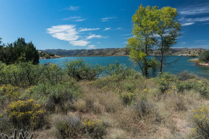 Horizontal view of Bill Evans Lake in New Mexico. royalty free stock photography