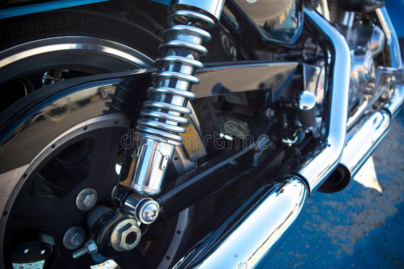 Horizontal View of Close Up of a Chrome Parts of a Motorbike stock photography