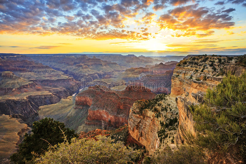 Horizontal view of famous Grand Canyon at sunrise royalty free stock photos