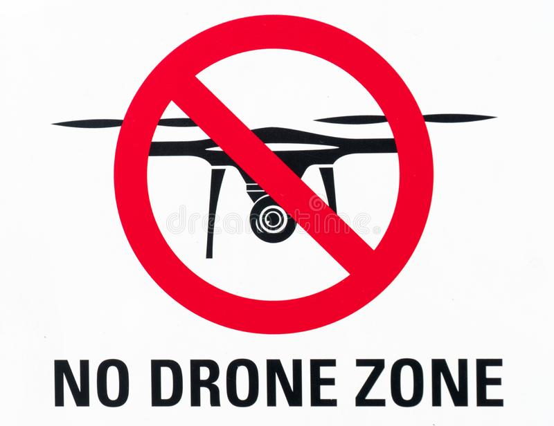 Illustration sign prohibiting the use and flying of drones with written warning of stock images