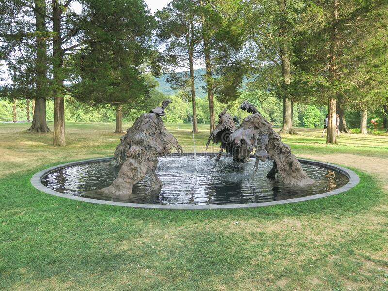 New Windsor, NY / United States - Aug. 9, 2015: A landscape image of Lynda Benglis North South East West, at Storm King Art Center. A horizontal view of Lynda stock images