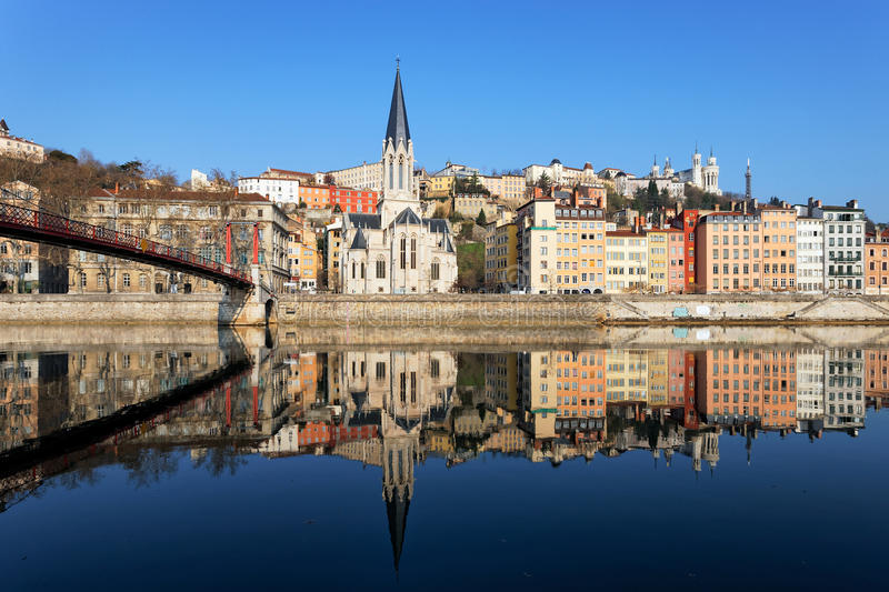 Horizontal view of Lyon and Saone River. In France stock photos