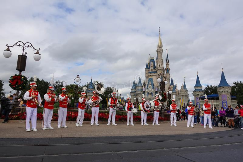 Horizontal view of the Main Street USA marching band stock photos