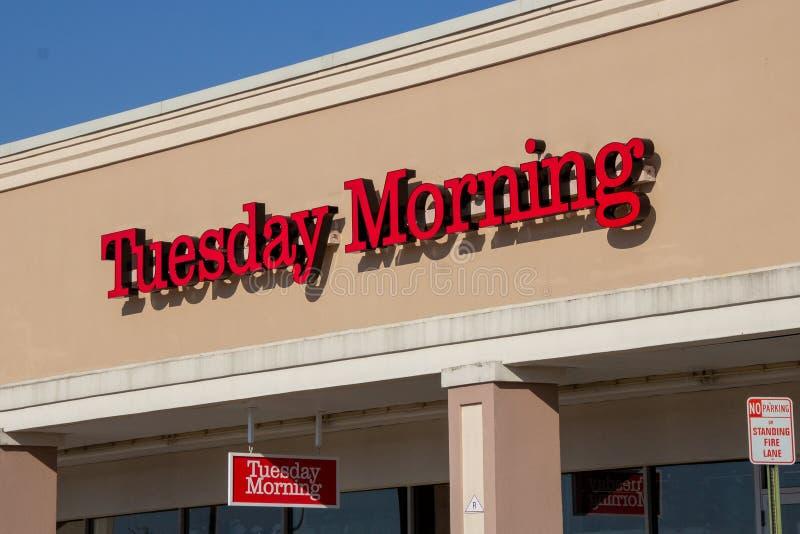 Ramsey, NJ / United States - Mar 9, 2019: Landscape view of Tuesday Morning signage stock photo
