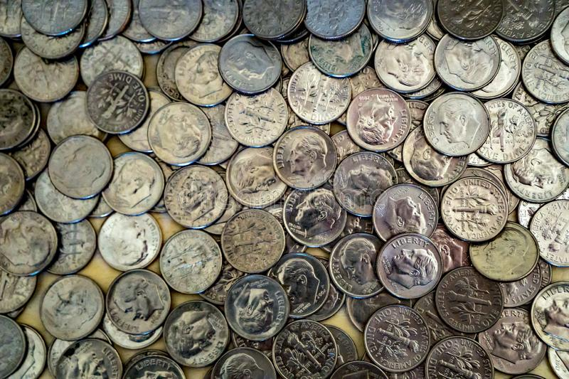 United States Dime Coins. Horizontal view of United States dime coins with Franklin Roosevelt`s picture on the front ideal for business or background stock image
