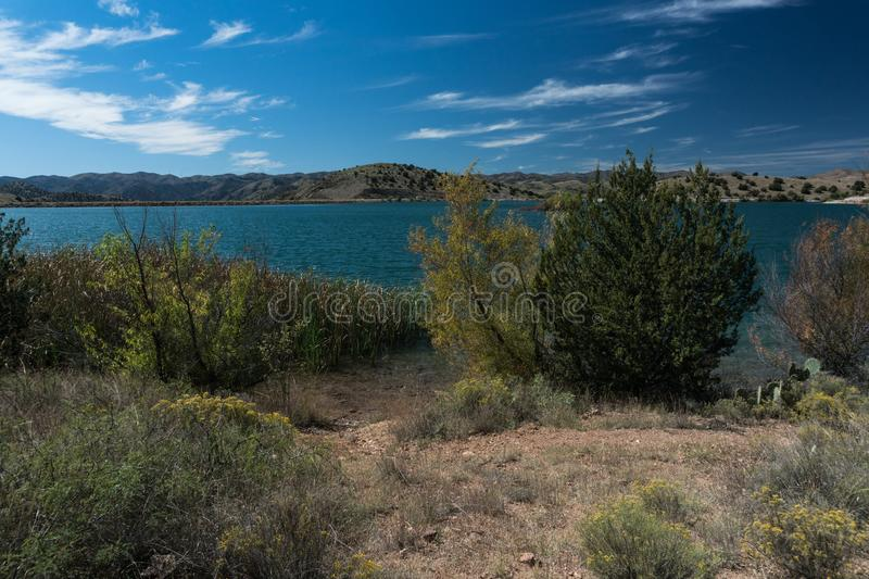 Horizontal vista of Bill Evans Lake in New Mexico. royalty free stock image