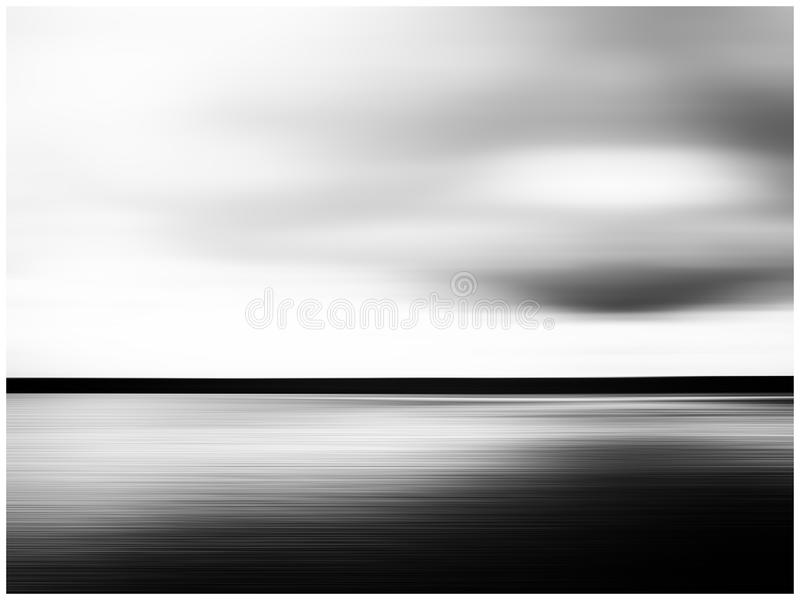 Horizontal vivid black and white minimal landscape abstraction stock photo