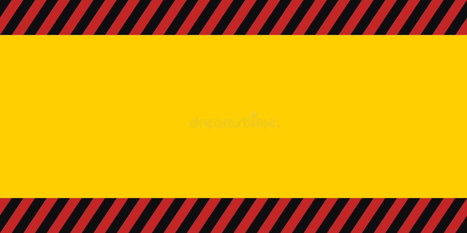 Horizontal warning banner frame, red yellow black, diagonal stripes, hazard backdrop wallpaper danger vector stock illustration
