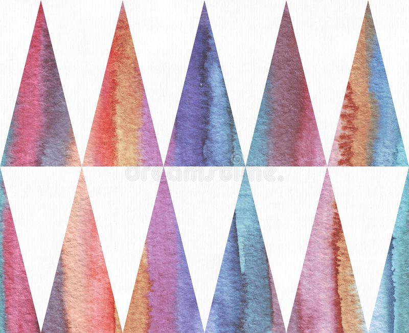 Horizontal watercolor texture based on seamless stripe pattern and long triangles background, watercolor paper, hand drawn with br stock illustration