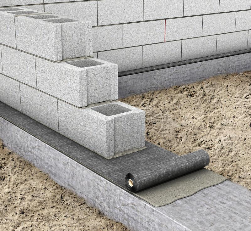 Horizontal waterproofing when building a house. waterproofing on the top of the foundation. 3d. Illustration stock photos