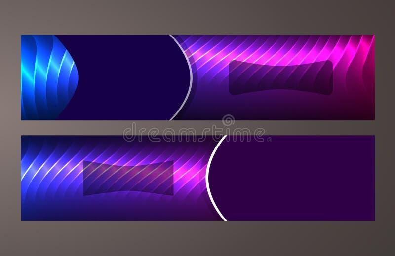 Horizontal web banner background blue purple neon effect09 stock illustration