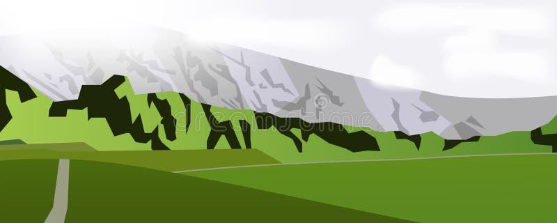 Horizontal web banner mountain landscape vector illustration