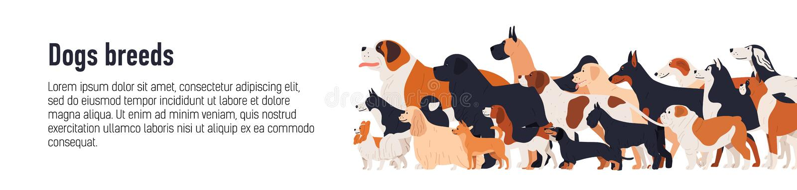 Horizontal web banner template for conformation dog show with adorable doggies of different breeds and place for text. Colorful vector illustration in flat stock illustration