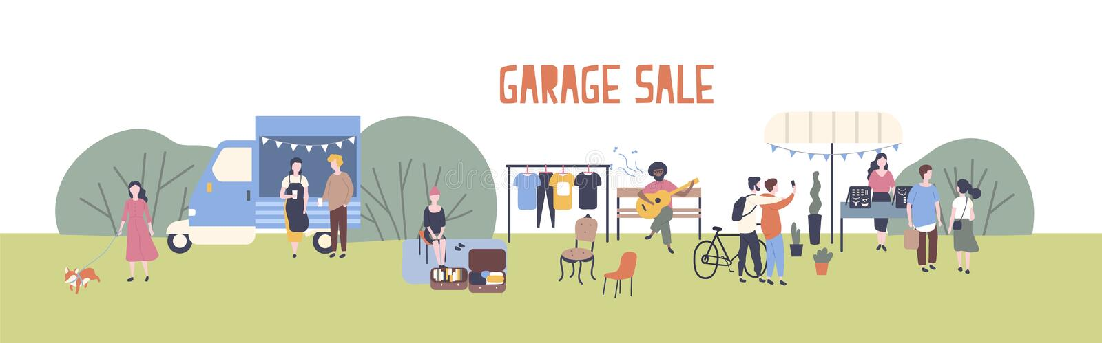 Horizontal web banner template for garage sale or outdoor festival with food van, men and women buying and selling goods vector illustration