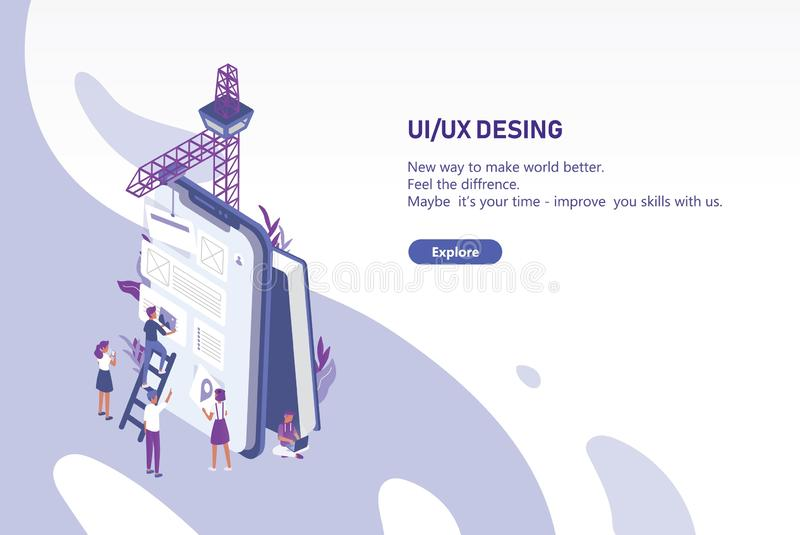 Horizontal web banner template with group of tiny people creating application design on giant tablet PC. User interface. And experience engineering. Colorful vector illustration