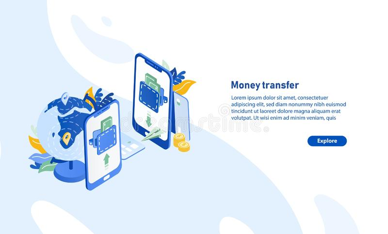 Horizontal web banner template with pair of smartphones, globe, flying paper plane and place for text. Secure and fast. International electronic money transfer vector illustration