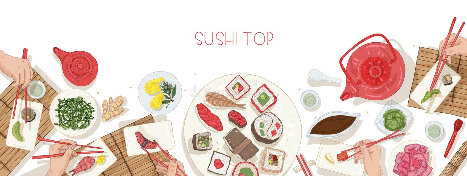 Horizontal web banner template with table full of Japanese food and hands holding sushi, sashimi and rolls with. Chopsticks. Lunch or dinner at Asian restaurant stock illustration