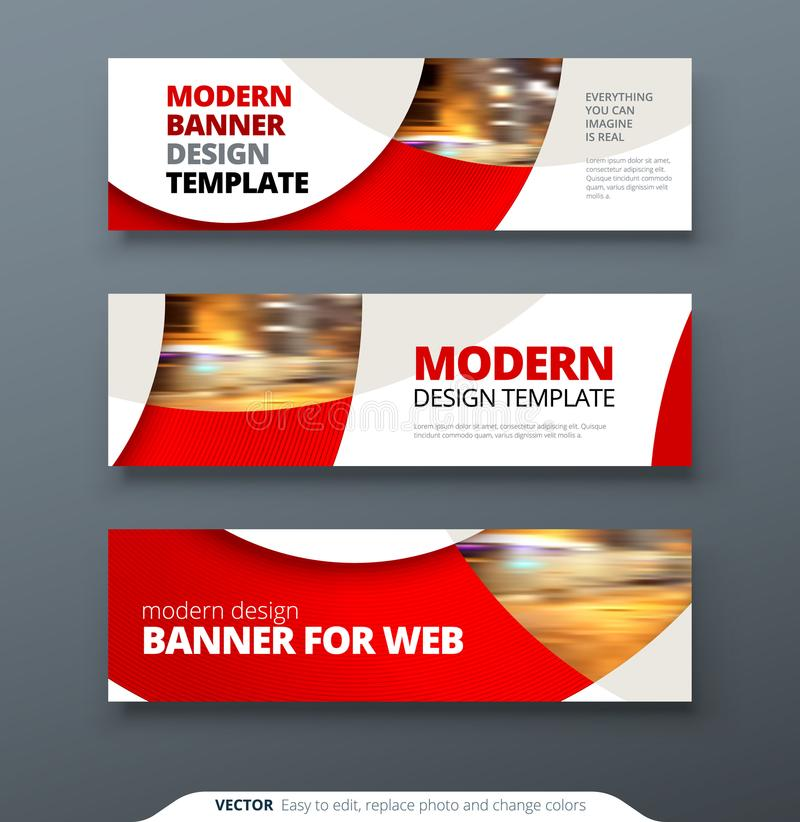 Free Horizontal Web Banner Templtes With Circles And Shapes For A Photo Stock Image - 122610641