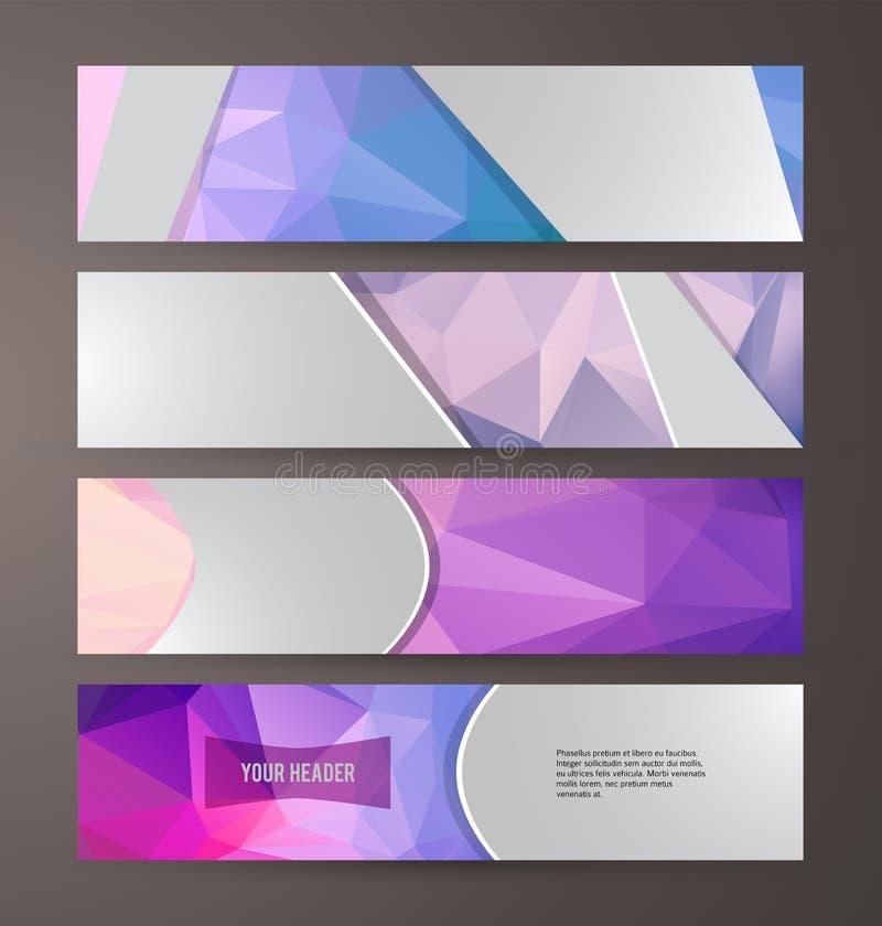 Horizontal web banner triangle mosaic background set template07 royalty free illustration