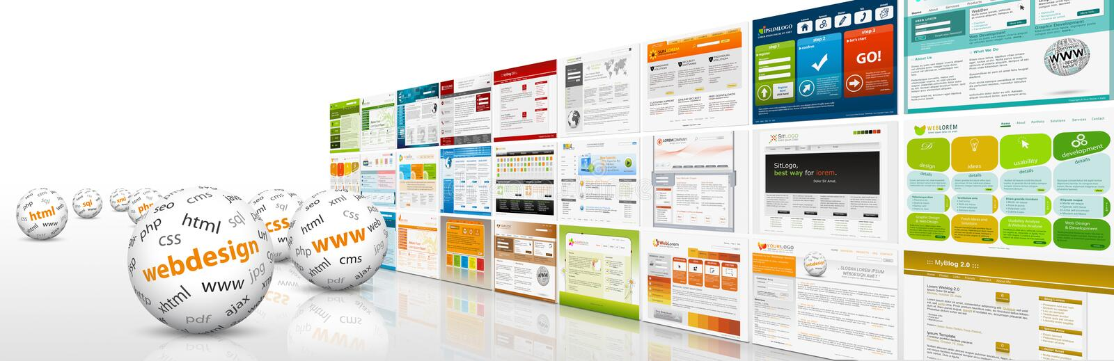 Horizontal Website Banner with Templates, Spheres and Abbreviati stock image
