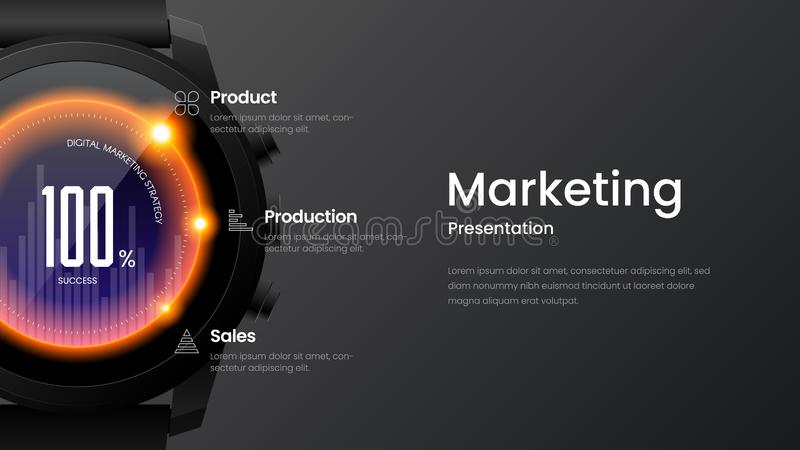 Horizontal website screen for responsive web design. Smart watch mock up banner layout. Marketing landing page vector illustration. Creative horizontal website royalty free illustration