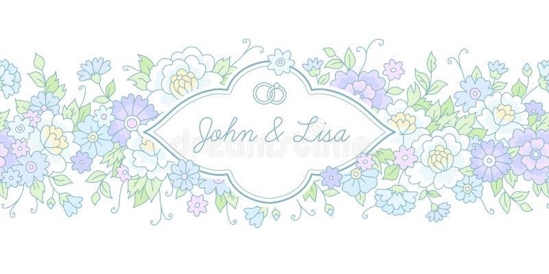 horizontal wedding card stock vector illustration of