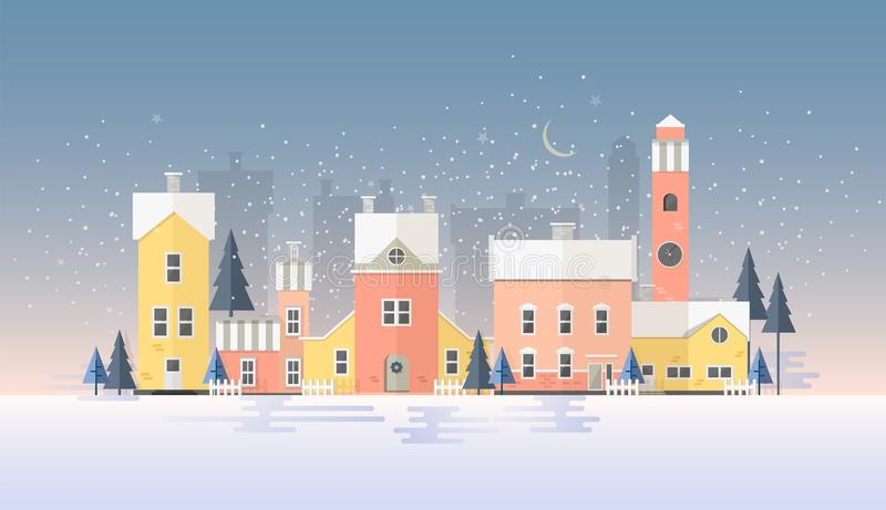 Horizontal winter cityscape with town in snowfall. Landscape with night city street, beautiful old buildings, towers and vector illustration