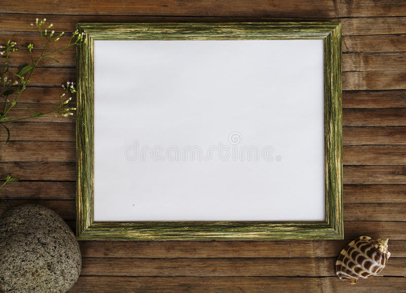 Horizontal wooden frame with white page photo background. Shabby chic design banner template. Horizontal wooden frame with white page photo background. Wood stock images