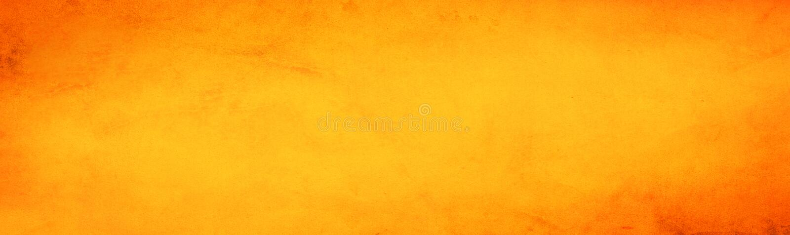 Horizontal yellow and orange grunge texture cement or concrete wall banner, blank background.  vector illustration