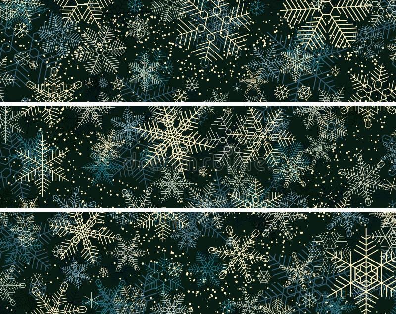 Horizontale abstrakte Fahnen von Winterschneefällen lizenzfreie abbildung