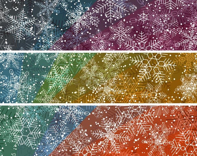 Horizontale abstrakte farbige Fahnen mit hellen Schneefällen vektor abbildung