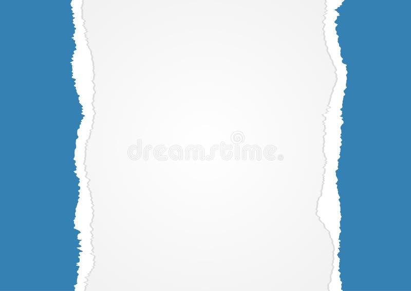 Horizontale achtergrond met blauw randen gescheurd document stock illustratie