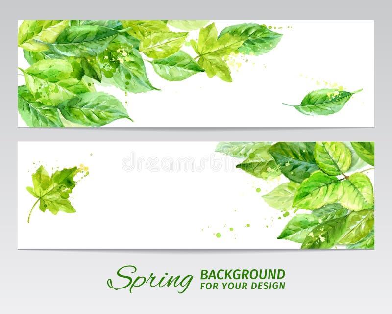 Horizontale achtergrond met groene bladeren en vlekken van verf Waterverfvector royalty-vrije illustratie