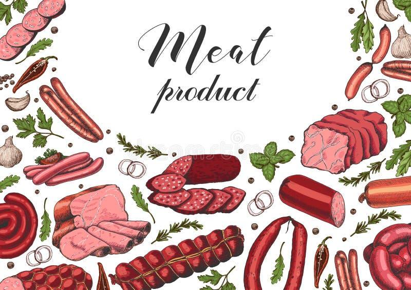 Horizontale achtergrond met verschillende kleurenvleeswaren in schetsstijl Worsten, ham, bacon, reuzel, salami stock illustratie