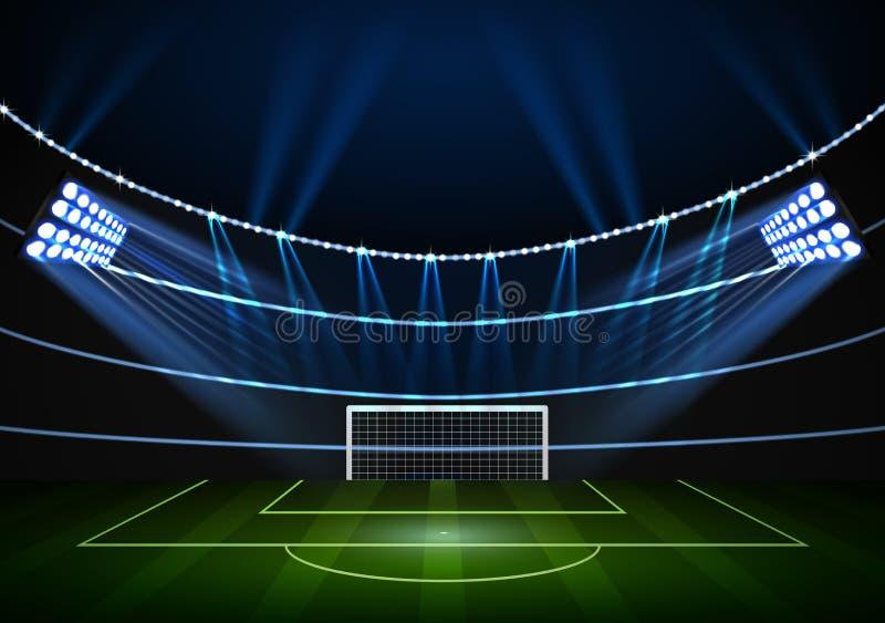 Horizontale Achtergrond voor het stadion van de nachtvoetbal in de schijnwerper royalty-vrije illustratie