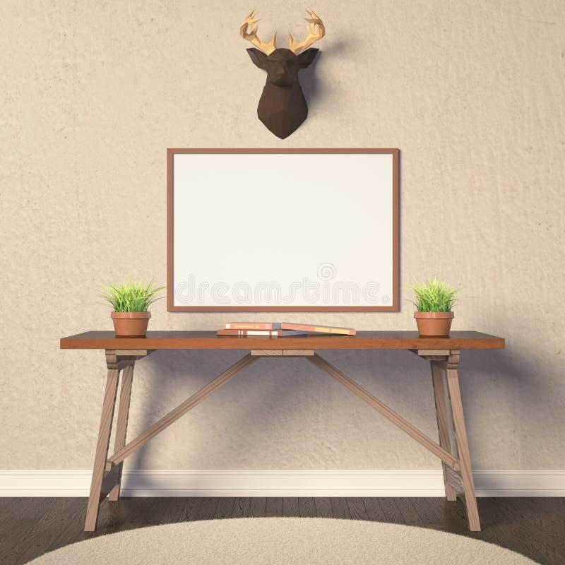 Horizontale affichemodel en herten stock illustratie