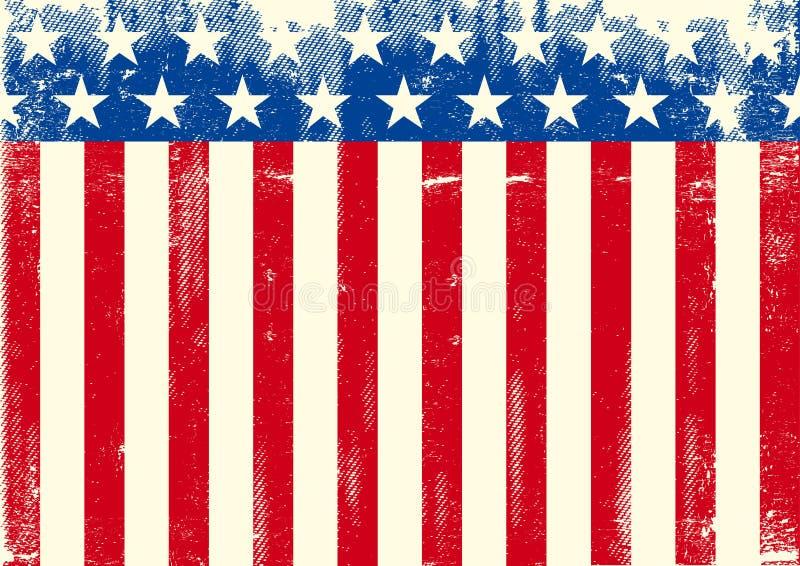 Horizontale Amerikaanse grungevlag stock illustratie