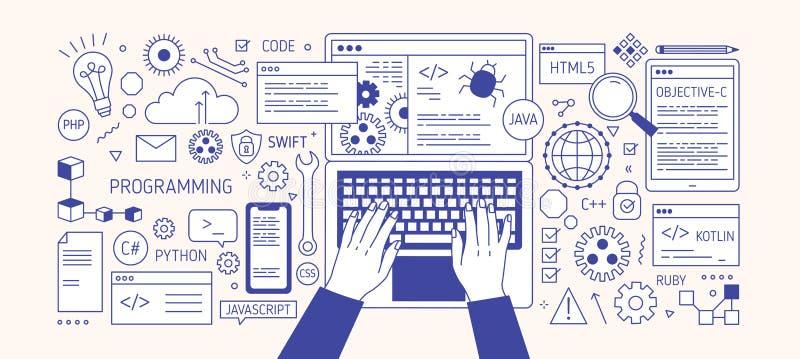 Horizontale banner met handen die op laptop toetsenbord, diverse elektronische apparaten en symbolen typen Programmering, softwar vector illustratie