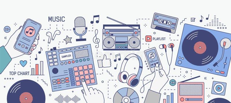 Horizontale banner met handen en diverse apparaten voor en muziek die - mobiele toepassing op smartphone spelen luisteren royalty-vrije illustratie