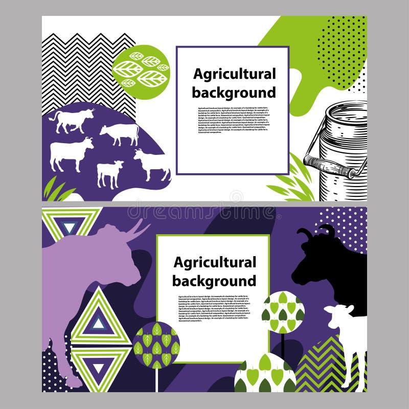 Horizontale banner met het beeld van koeien en geometrische vormen royalty-vrije illustratie