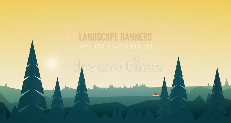 Horizontale banner met mooi boslandschap of boslandschap Spectaculaire mening met nette bomen en klein royalty-vrije illustratie